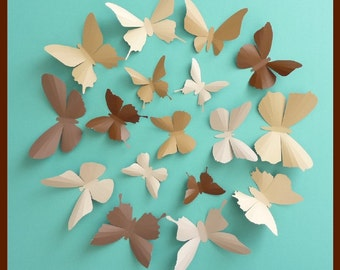 3D Wall Butterflies - 15 Chocolate, Camel, Tan, Brown Butterfly Silhouettes, Home Decor, Nursery