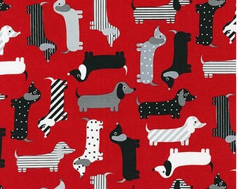 Dachshunds on Red from Robert Kaufman's Urban Zoologie Collection by Ann Kelle