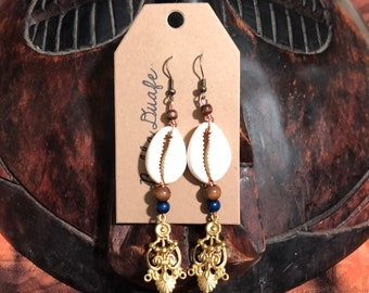 Brass and Cowrie Shell Earrings