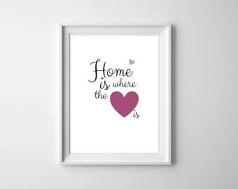 Wall Art Print, Instant Download, Printable Art, Printable Quotes, Home Decor,Home, Heart, Printable Wall Art
