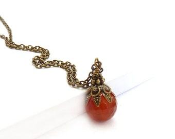 Carnelian Pendant - Orange Red Necklace - Bronze Chain Necklace - Semi-Precious Stone Pendant - Earthy Bohemian
