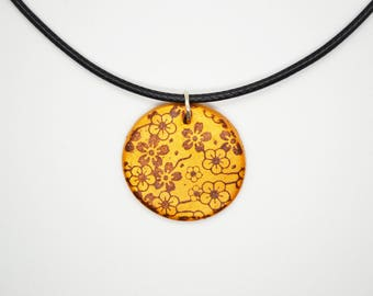 Pendant necklace gold patterned cherry blossoms (sakura) - polymer clay