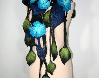 Felted Scarf with Flowers and Leaves, Openwork Scarf , Black and Turquoise, Art Scarf