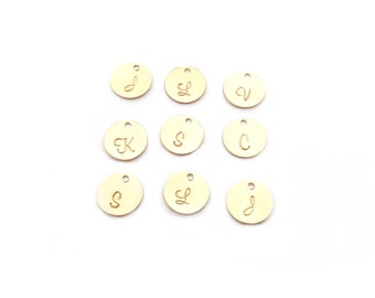 Add a Hand Stamped Gold Filled Initial Charm - Script Font - Alphabet Initial Disc - Personalized Letter - Add a Charm - Gold Initial Charm