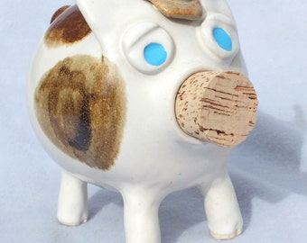 Handmade OOAK Art Piggy Bank with Cowboy Hats