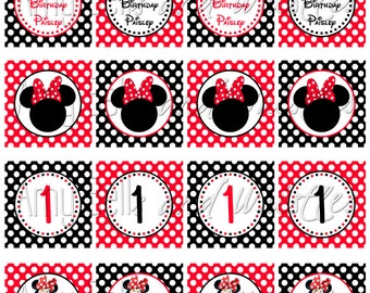 Personalized Red Minnie Mouse Cupcake Toppers - Digital File