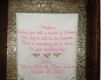 Flower Girl Wedding Gift Embroidered Wedding Handkerchief by Canyon Embroidery