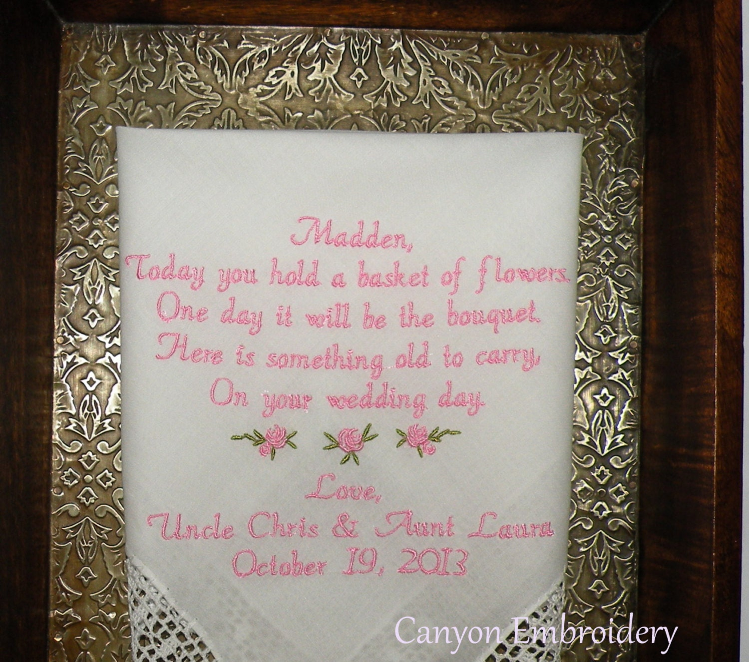 Wedding Gifts For Girl: Flower Girl Wedding Gift Embroidered Wedding Handkerchief By