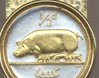 Irish Pig & piglets, Coin - Money clip - Gorgeous 2-Toned Gold on Silver