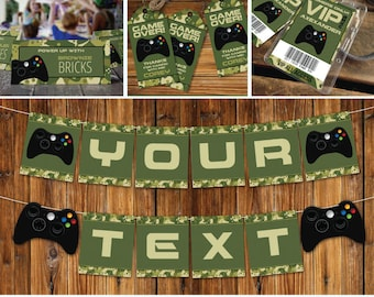 Video Game Party Printable Decor, Gamer Birthday, Video Game Collection, Camo Pattern   INSTANT Download Printable PDFs