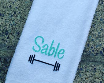 Personalized Barbell Sweat Towel, Monogrammed Gym Towel, Monogrammed Hand Towel