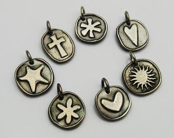 Handmade Rustic Metal Charms, Sun Charm, Heart Charm, Starfish Charm, Asterisk Charm, Cross Charm, Flower Charm, Leather Choker, Talisman