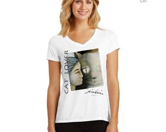 CAT , V-neck T-shirt – grey and black , women's clothing, cat tee, girl tops,