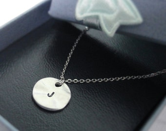 initial necklace, Initial Round Pendant Necklace in white gold, personalized necklace, Hand Stamped Initial