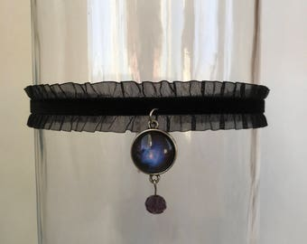 Black Galaxy Choker, Day Collar, Kitten Play Collar, Choker, BDSM Collar, ddlg Collar, Lolita Collar