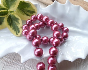 Set of 10 glass beads 10mm Heather colored Pearl