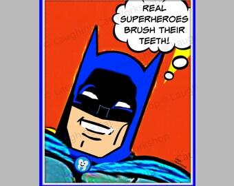 Funny kid bathroom art Health Education poster Funny dentist art Brush your Teeth Batman comic superhero back to school decor teeth art