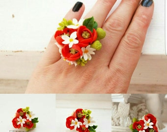ring with poppy, flower ring, poppy jewelery, bridesmaids gift, flower ring, flower jewellery, poppy gift, gift for girl, gift ring