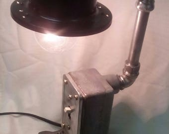 Steampunk Gears Desk Lamp- Pipe Fittings- Antique Electrical Box- Industrial