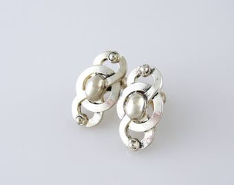 Vintage ART DECO Sterling Abstract Silver Circle Swirl Earrings