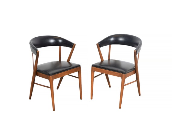 Bon Shelby Williams Arm Chairs Black Naugahyde Mid Century Modern