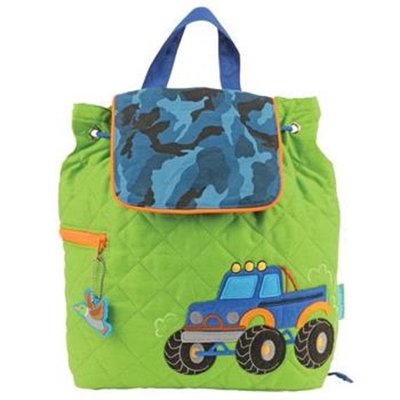 FREE PERSONALIZATION, Children's Backpack, Custom Embroidery, Monogram, Truck Backpack, Personalized Blue Camo Truck Backpack