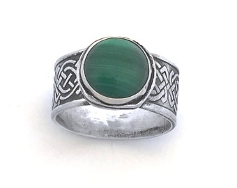 Silver Celtic Ring | Wide Band Silver Ring | Silver Malachite Ring Band | Malachite Gemstone | Boho Ring | Metal Clay Jewelry | Silver Ring