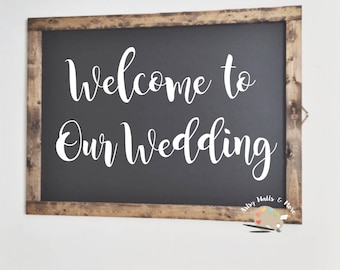 Welcome to Our Wedding vinyl decal only label sticker, DIY vinyl Decal for wedding sign, Wedding chalkboard mirror sign vinyl decal