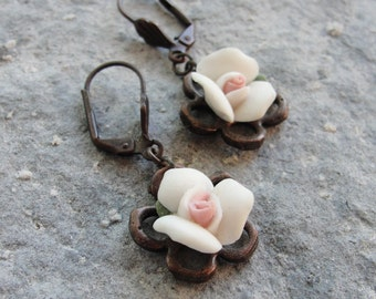Dangle Roses Earrings - Copper and Porcelain