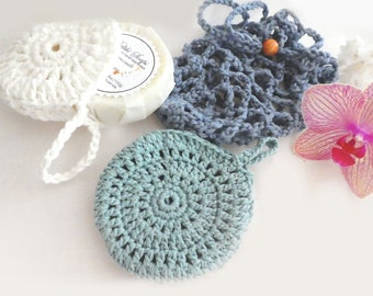 Crochet soap saver round -blue crochet soap sack -crochet soap bag- crochet soap holder-cotton crochet soap saver-bath accessories- gift