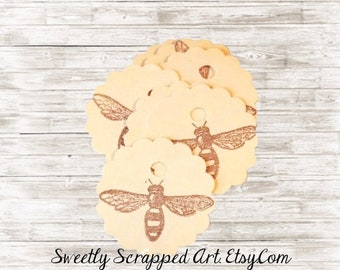 10 Bee tags ...  Wedding Tags, Honey Tags, Hang Tags, Paper Tags, DIY Tags, Round Tags, Circle Tags, Bee Paper, Embellishment Tags, Labels