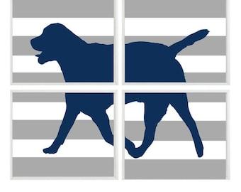 Dog Art Print Set - Labrador Retriever Navy Blue Gray Stripes Decor - Children Kid room - Nursery Wall Art Home Decor -