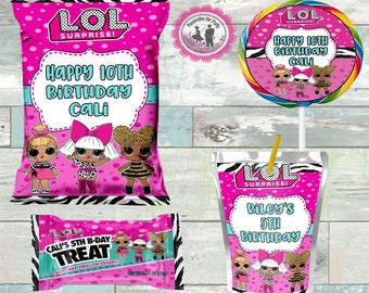 LOL surprise girls INSPIRED party package-digital or printed-juice pouch labels-girls party favors-birthday party favors-LOL party favors