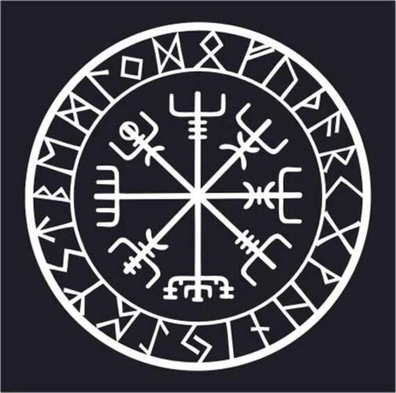 viking protection runes vegvisir compass talisman white vinyl. Black Bedroom Furniture Sets. Home Design Ideas
