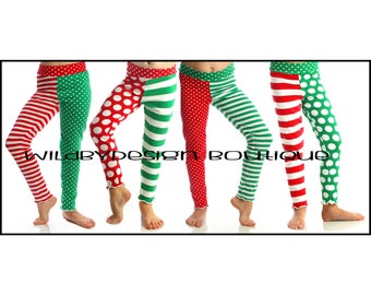 Christmas leggings - baby leggings, toddler leggings, red and white stripe leggings, knit green dot leggings, girl leggings