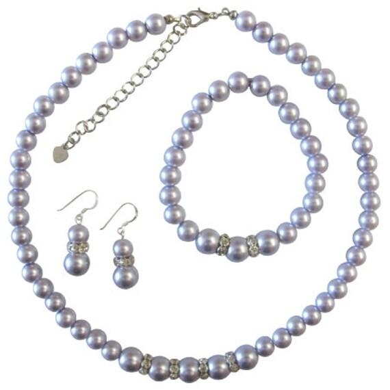Lavender Pearl Bridesmaid set,Jewelry set Purple Lavender Lilac Mauve Bridemaid gift set ,Gift Set of 3 Piece Jewelry Set Free Shipping USA