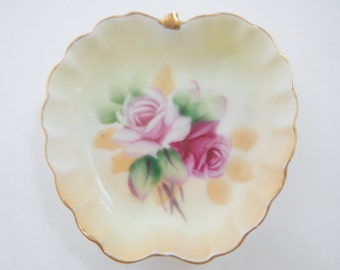 Vintage Lefton China Handpainted Apple Open Salt Finger Dish 5208 - fruit shape, floral design  - more shapes avail. - finger bowl,salt dish
