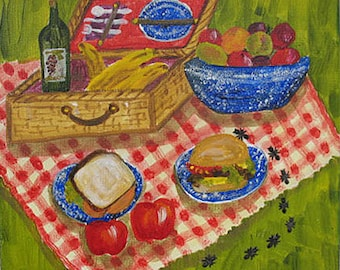 Picnic Painting -  Original art -  Mixed Media with ANTS 12 x 12 inches