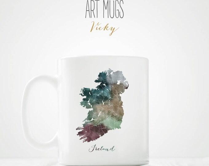 Ireland Map Coffeee Mug - ArtPrintsVicky.com