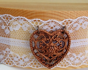 2 Hearts Lace Choker - Bridal Choker - Lace Choker Necklace - Heart Choker