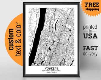 Yonkers etsy yonkers new york map yonkers city print yonkers poster personalized wedding map art negle Gallery