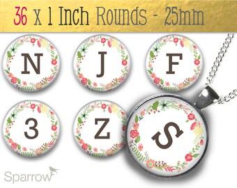 Floral Alphabet & Numbers - One (1x1) Inch Bottle Cap Images - Digital Sheets - Scrapbooking - Buy 2 Get 1 Free - Digital Download