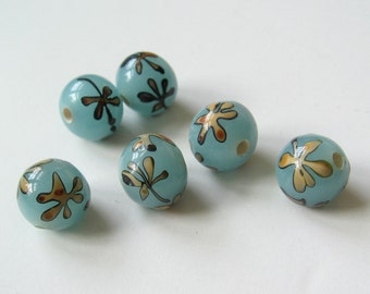 6 lamp work blue glass beads with Matisse like flower 10mm