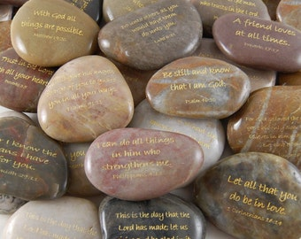 Engraved River Rocks - Scripture Verses - Set of 60 - FREE US SHIPPING