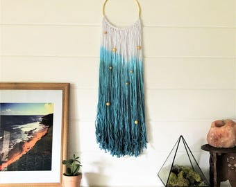 Dip Dye Wall Hanging   Natural Fiber Modern Dreamcatcher   Teal Ombre Dye on Gold Hoop with Wood Beads   Girls Room Decor   Boho Style