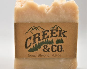 Sweet Almond Soap, hot process soap, almond soap, rustic soap, handcrafted soap, artisan soap, kitchen soap, homemade soap, shower soap