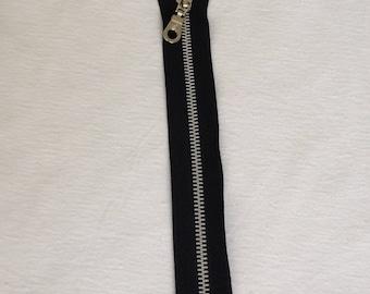Zipper zip detachable black silver metal sewing notions 25 cm diy clothing bags leather