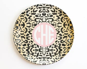 Personalized Melamine Plate Monogram Plate for Kids Leopard Print Outdoor Dinnerware Custom Birthday Plate ThermoSāf ® Polymer Plate