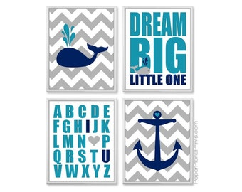 Whale Theme Baby Room Pictures, Nautical Nursery Decor, Navy and Teal Turquoise, Ocean Nursery Decor, Baby Boy Bathroom, Kids Artwork, 8x10