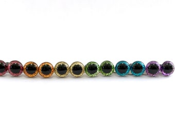 9 mm Safety Eyes READY TO SHIP Glitter Craft Eyes in Assorted Rainbow Colors: Pink, Orange, Gold, Green, Blue, and Purple - 6 pair